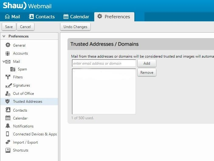 Screen shot of Shaw webmail trusted addresses setting