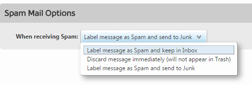 Screen shot showing the spam mail options available