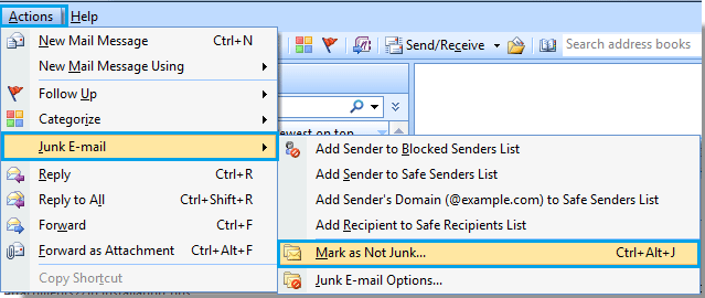 "screen shot of the ""mark as not junk"" selection in Outlook 2007"
