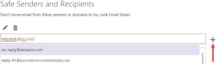 screen shot of the outlook web safe senders of recipients setting