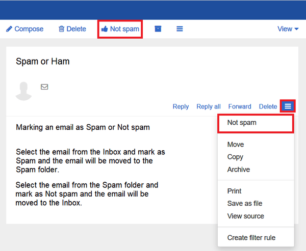 """Screen shot showing the location of the """"not spam"""" option in TalkTalk mail"""