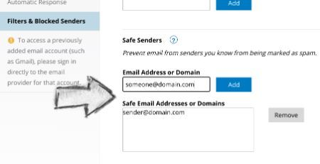 How to add sender to Spectrum webmail safe senders