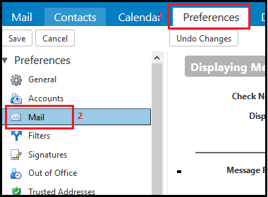 Mail preferences selection in Zimbra webmail